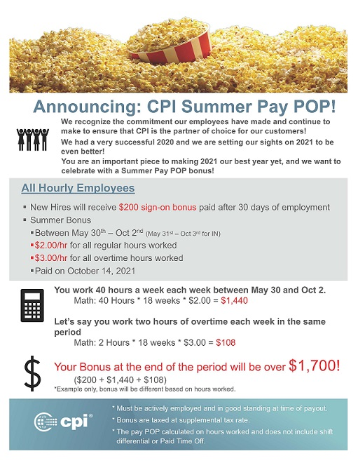 Summer Pay POP! Employee Announcement Hourly - New Hire 2021